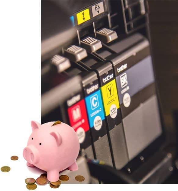 Kuva tulostinmusteista ja säästöpossusta